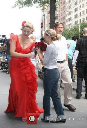 Kim Catrall filming a wedding scene for 'Sex And The City: The Movie' New York City, USA - 02.10.07