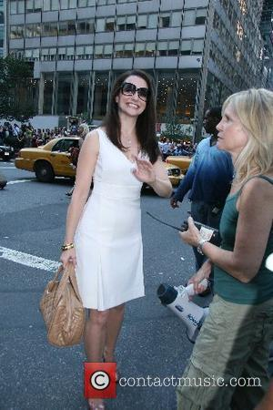 Kristin Davis The stars of 'Sex and the City: The Movie' appear together on set in NYC New York City,...