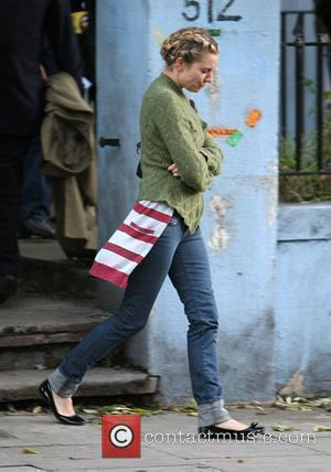 Sienna Miller finishes a days filming on the set of her latest film 'Hippie Hippie Shake' and heads to the...