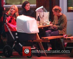Davinia Taylor and Sienna Miller enjoy a drink after a day's filming on the set of Sienna's latest film 'Hippie...
