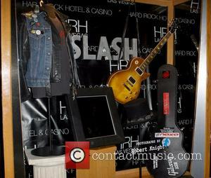 A general view of memorabilia at the dedication ceremony honoring the work of guitarest Slash and photographer Robert Knight Slash...