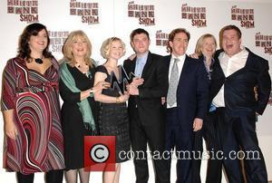 Ruth Jones, Alison Steadman, Joanna Page, Mathew Horne, Rob Brydon, and James Corden pose with the award for Comedy for...