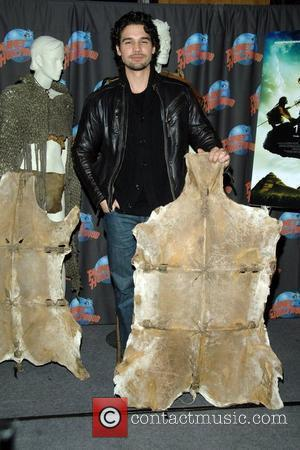 Steven Strait  reveals costumes from his new film, '10,000 B.C.,' at Planet Hollywood in Times Square New York City,...