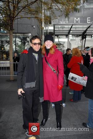 Fred Armisen and Diane Neal Writers Guild of America, East continues their strike with celebrity support at Time Warner Center....