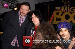Julian Barratt, Noel Fielding, Michael Fielding as Naboo and Dave Brown Bollo The Cast of The Mighty Boosh sign copies...