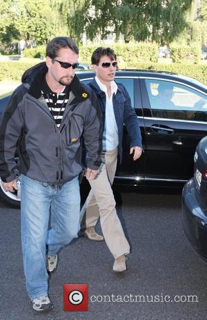 Tom Cruise arriving at Tempelhof airport. The Hollywood star travels to the film set of his new movie