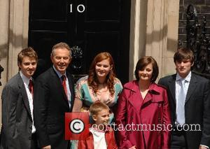 PM Tony Blair and family before heading to Buckingham palace from 10 Downing Street on his last day in office...