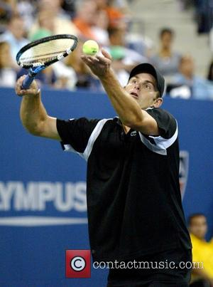 Andy Roddick competing in the first round of The US Open 2007 at Arthur Ashe Stadium New York City, USA...