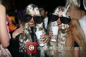 Mary-Kate Olsen and Ashley Olsen costumes V Magazine Halloween Party at the Rose Bar in the Gramercy Park Hotel -...