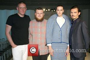 Giles Deacon, Matthew Inett, Model and Matthew Williamson The London College of Fashion BA graduate catwalk at the Royal Academy...