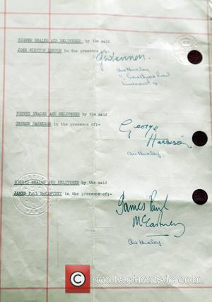 The first fully signed contract between The Beatles and Brian Epstein estimated to be valued at �250k. The contract is...