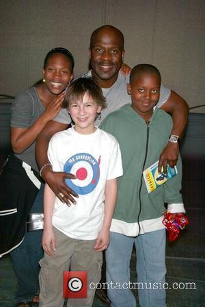 BeBe Winans and his kichildren, Maya Winans and Benjamin Winans with Brian D'Addario (Flounder) Gospel singer BeBe Winans visits the...