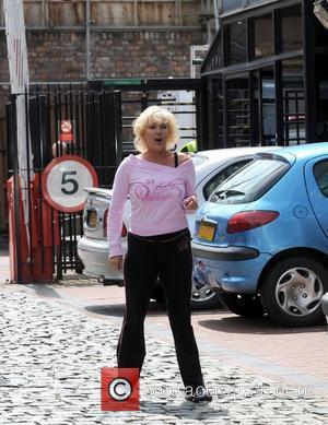 Beverley Callard  jogs to Granada studios to film Coronation Street Manchester, England - 16.06.08