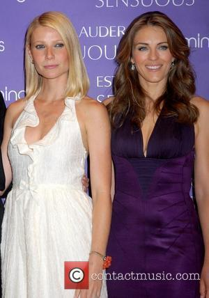 Gwyneth Paltrow and Elizabeth Hurley attend the launch of Estee Lauder's latest fragrance, 'Sensuous', at Bloomingdale's on 59th Street Nerw...