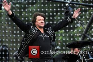Richie Sambora Bon Jovi performing a free concert on the Great Lawn in Central Park presented by the Bank of...