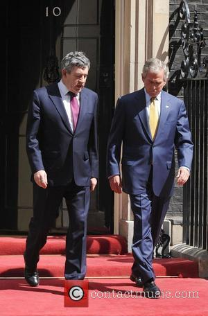 George W. Bush and Gordon Brown leaving 10 Downing Street on the second day of his UK visit	  London,...