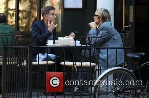 Calvin Klein and A Friend Enjoy A Meal At A Restaurant In Manhattan's West Village