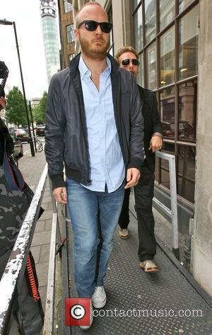 Will Champion and Chris Martin of Coldplay arrive at the BBC Radio One studios London, England - 12.06.08