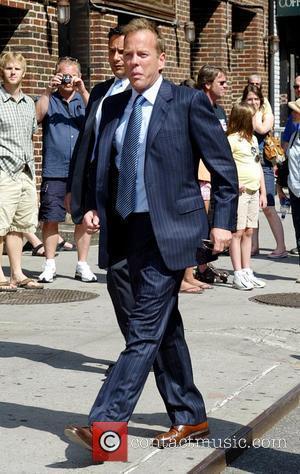Kiefer Sutherland, David Letterman and Ed Sullivan Theatre
