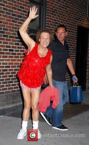 Richard Simmons departs after appearing as a guest on the David Letterman Show New York City, USA - 28.07.08