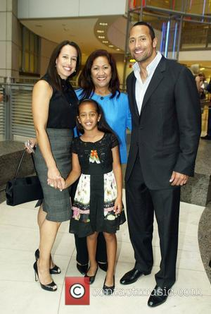 Dwayne Johnson , The Rock with his ex-wife, mother and daughter