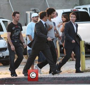 Matt Dillon, Jerry Ferarra, Jeremy Piven, Adrian Grenier and Kevin Connolly on the set of the HBO series 'Entourage' Los...
