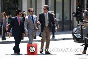Jeremy Piven, Gary Cole and Rex Lee on the set of 'Entourage' filming on Rodeo Drive in Beverly Hills Los...