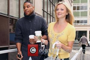 Fearne Cotton and Reggie Yates Arrive At The Bbc Radio One Studios With Starbucks Coffee