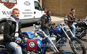 Steve Sidwell, Shaun Wright-Phillips and Wayne Bridge 2008 Harley Davidson celebrity charity bike ride London, England - 10.08.08