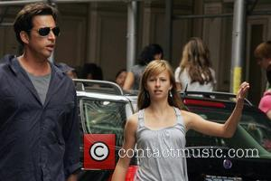 Harry Connick Jr takes his daughter Georgia Tatom at the Apple store in SoHo to see Jonas Brothiss perform New...