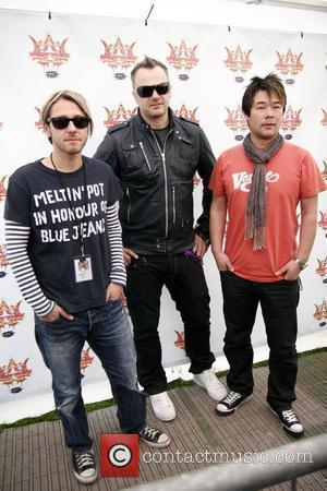 Grant Nicholas, Taka Hirose and Mark Richardson of Feeder backstage Isle of Wight Music Festival 2008 - Day 3 Isle...