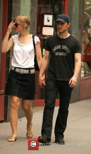 James McAvoy and wife Anne-Marie Duff walking around Soho New York City, USA - 21.06.08