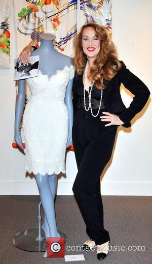 Jerry Hall attends a press preview of items she is auctioning off in aid of homeless charity Emmaus held at...