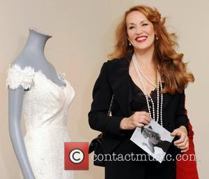 Jerry Hall  attends a press preview of items she is auctioning off in aid of homeless charity Emmaus held...