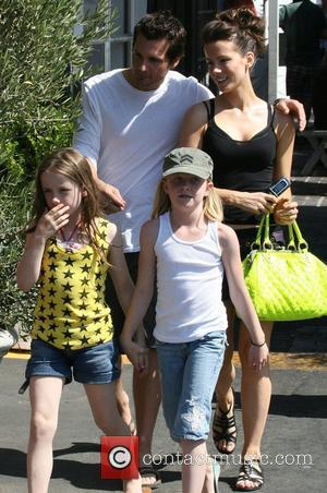 Kate Beckinsale and husband Len Wiseman take their daughter Lily and her friend to lunch in Santa Monica Los Angeles,...