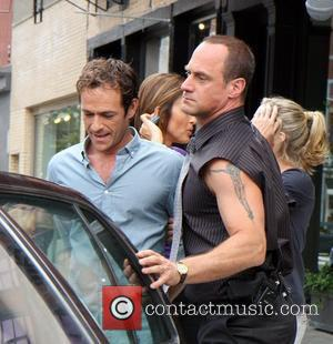 Luke Perry and Christopher Meloni filming an episode of Law and Order: SVU in the Meat Packing District New York...