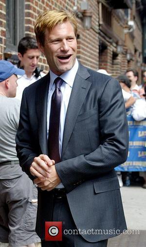 Aaron Eckhart and David Letterman