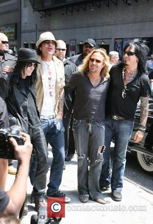 Mick Mars, David Letterman, Motley Crue, Nikki Sixx, Tommy Lee and Vince Neil
