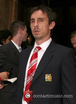Gary Neville Manchester United football team leaving The Landmark Hotel for their match against Portsmouth at Wembley London, England -...