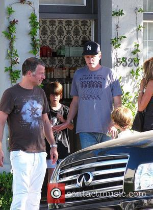 Michael Rapaport leaving the Neil George Salon in Beverly Hills with his two sons wearing a NY Yankees hat Los...