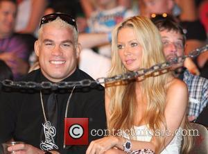 Tito Ortiz and Jenna Jamison in the audience at the Ultimate Fighter 7 MMA finals at the Palms Hotel and...