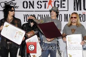 Mick Mars, Nikki Six, Tommy Lee and Vince Neil of Motley Crue Launch of 'Guitar Centre On-Stage' with the 'Make...