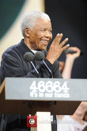 Nelson Mandela appearing at the '46664' concert honouring his 90th birthday at Hyde Park London, England - 27.06.08