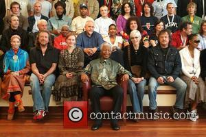 Nelson Mandela, Annie Lennox, Brian May and Peter Gabriel
