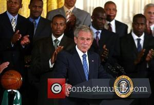 President George W. Bush  pays tribute to the Celtics' 17th NBA championship during a 15-minute ceremony with the team...
