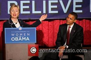 Senator Hillary Clinton and US Democratic Presidential Candidate Senator Barack Obama speak at the 'Women for Obama' breakfast at the...
