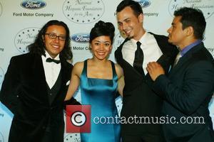 Efren Ramirez, Aimee Garcia and Jesse Garcia attends the black tie reception of the Noche de Gala at the Grand...