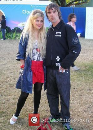 Ian Brown of the Stone Roses with the Daily Star Goss Girls Charli Morgan Celebrities at The O2 Wireless Festival...