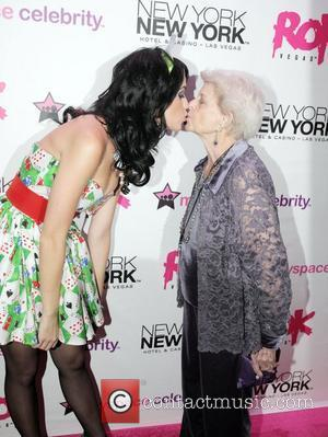Katy Perry, Her Grandmother At The Grand Opening Of Rok Vegas In The New York New York Hotel and Casino