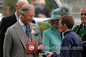 Prince Charles, Prince Of Wales, Camilla and Duchess Of Cornwall Present Winning Jockey Aidan O'brien With A Prize At Royal Ascot - Day 2